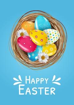 부활절 포스터 템플릿 둥지에서 3d 현실 부활절 달걀으로 설정합니다.