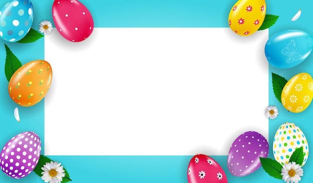 3d 현실 부활절 달걀과 페인트와 부활절 포스터 템플릿.
