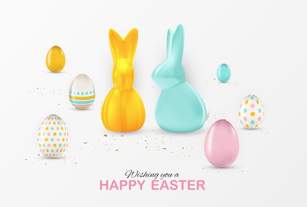 Easter poster template with 3d realistic easter eggs. template for advertising, poster, flyer, greeting card