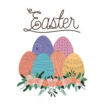 계란과 꽃 장식 부활절 포스터