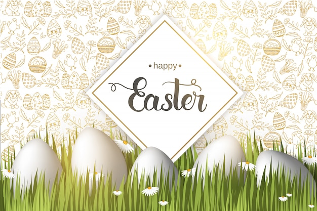 Easter poster with eggs on the grass, hand made trendy lettering