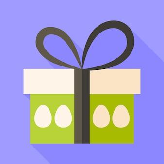 イースタープレゼントボックスと卵。影付きのフラットな様式化されたイラスト
