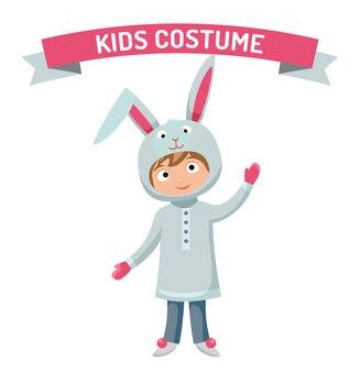 Easter rabbit boy kid costume vector illustration