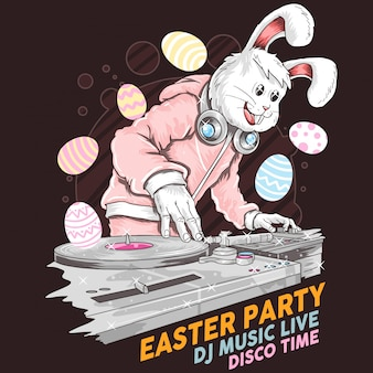Easter rabbit dj party music