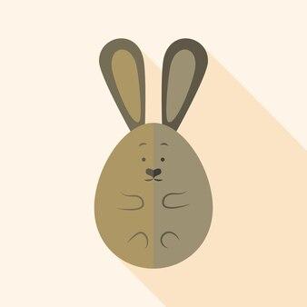 부활절 토끼 달걀 모양. 그림자와 함께 평면 양식된 그림