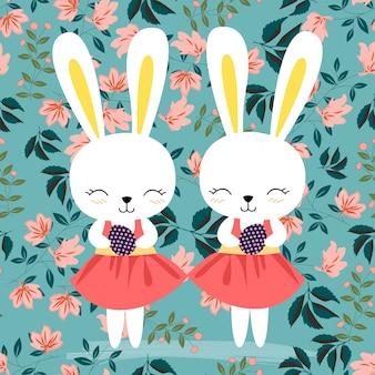 Easter rabbit in pink flower seamless pattern