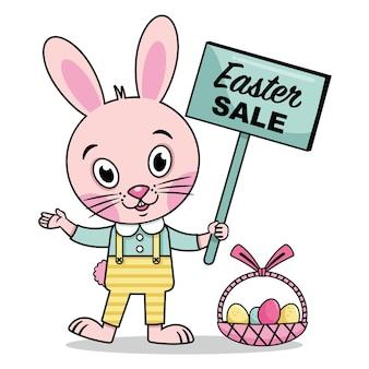 セールサインベクトルイラストとイースターウサギ