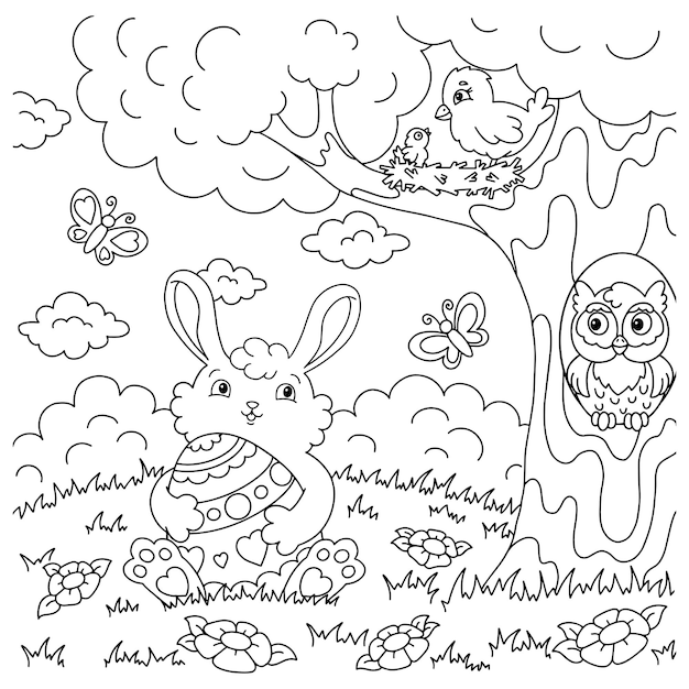 Easter rabbit with egg coloring book page for kids