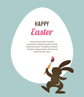 토끼와 부활절 복고풍 인사말 카드