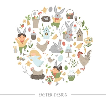 Easter round frame with bunny, eggs and happy children isolated on white background. christian holiday themed banner or invitation framed in circle. cute funny spring card template.