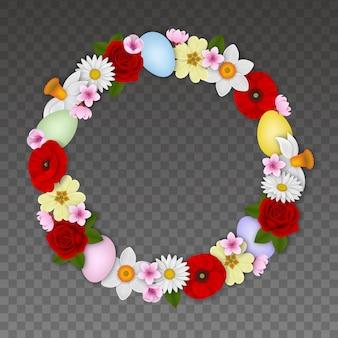 Пасхальная круглая рамка с цветами и разноцветными яйцами