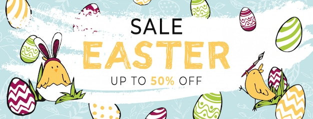 Easter sale 50 percents off horizontal banner template. hand drawn colored eggs, yellow chicken brushing eggs and chicken in shell dressed as easter rabbit with bunny ears. happy light holiday poster.