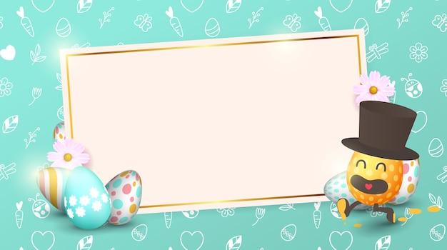 Пасхальная распродажа баннер фон шаблон с красивыми яркими весенними цветами и мультяшными пасхальными яйцами.