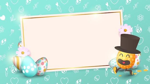 Easter sale banner background template with beautiful colorful spring flowers and  cartoon easter eggs running.