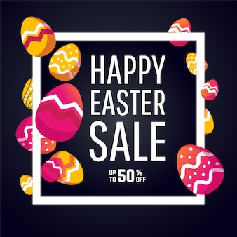 Easter sale banner background template with eggs.