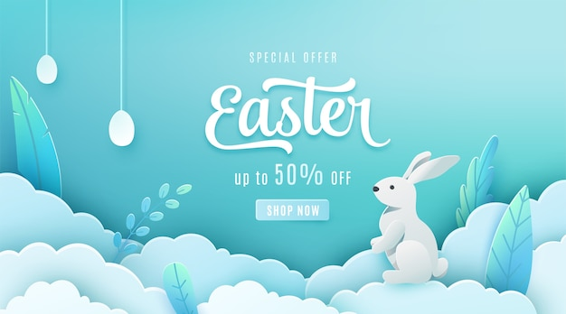 Easter sale banner. paper cut style holiday discount offer template