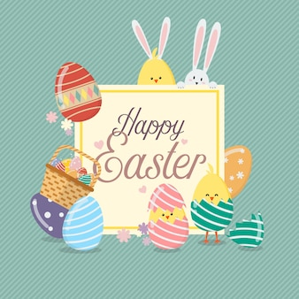 Easter sale banner template with bunny rabbit and eggs