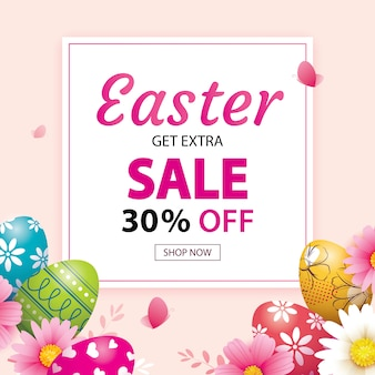 Easter sale banner template with colorful eggs.