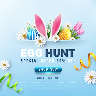 Easter sale banner template with easter eggs and flower