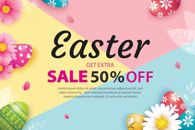 Easter sale banner template with eggs and flower.