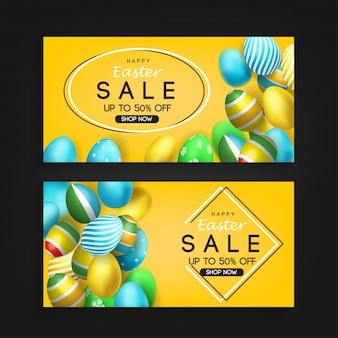 Easter sale banner with 3d eggs element