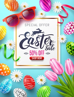 Easter sale banner with colorful painted easter eggs and flower.