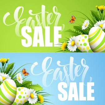 Пасхальная распродажа баннер с яйцами и весенний цветок.