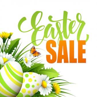 Easter sale banner with eggs and spring flower.