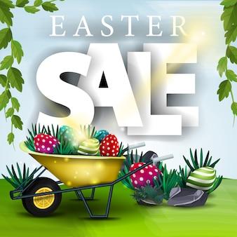 Easter sale banner with spring landscape