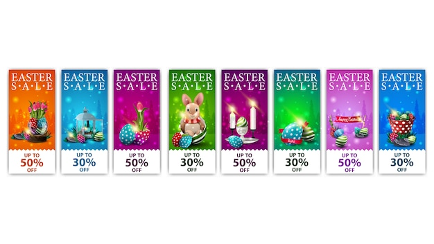Easter sale, collection colorful discount banners