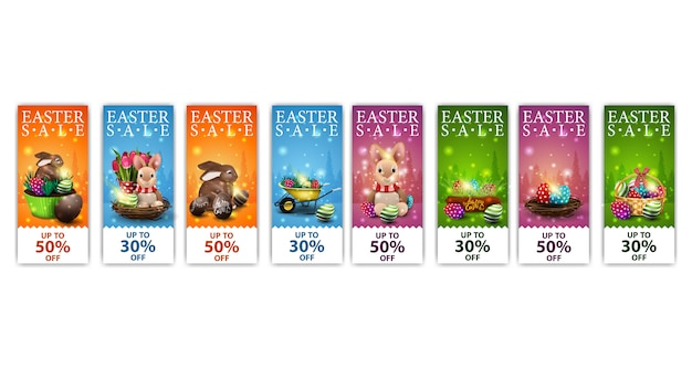 Easter sale, collection colorful vertical discount banners with cartoon easter icons