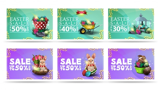 Easter sale, collection discount banners in cartoon style with easter icons, liquid shapes on background and frame of garland
