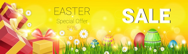 Easter sale decorated colorful banner
