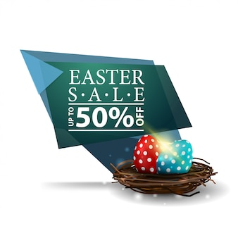 Easter sale, green banner with easter eggs in the nest