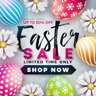 그린 계란과 꽃과 부활절 판매 그림