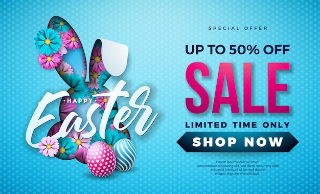 Easter sale illustration with painted egg and flower