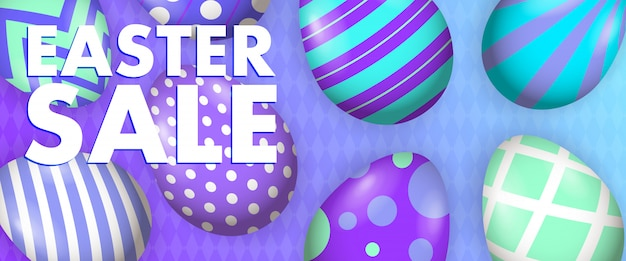 Easter sale lettering with decorated eggs