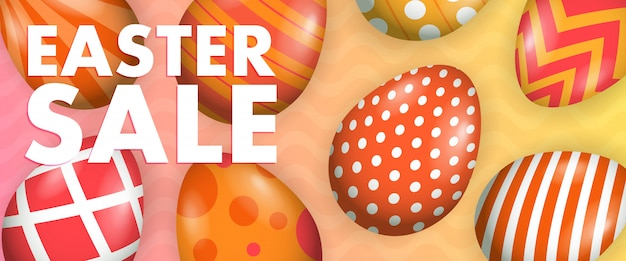 Easter sale lettering with painted eggs