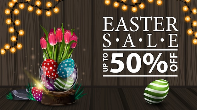 Easter sale, modern horizontal discount banner with wood texture