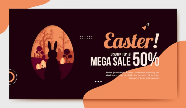 Easter sale in paper cut style
