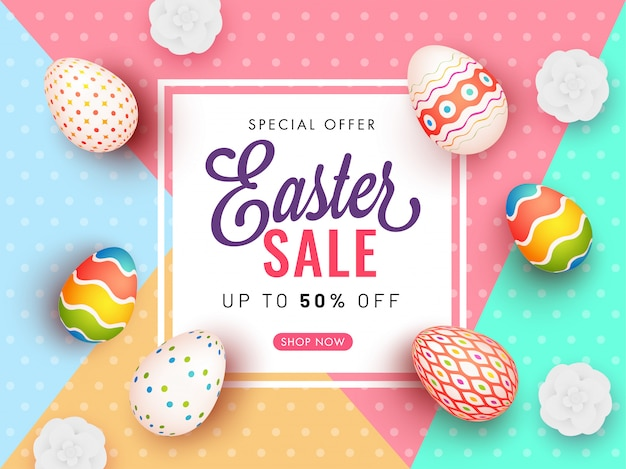Easter sale poster banner with 50% discount offer
