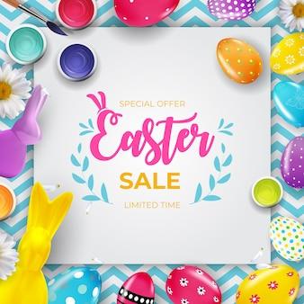 3d 현실 부활절 달걀과 페인트 부활절 판매 포스터 템플릿.