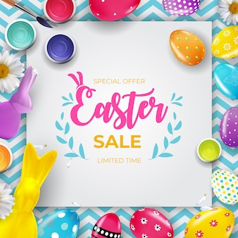 Easter sale poster template with 3d realistic easter eggs and paint.