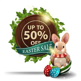 Easter sale, round wooden sign with liana