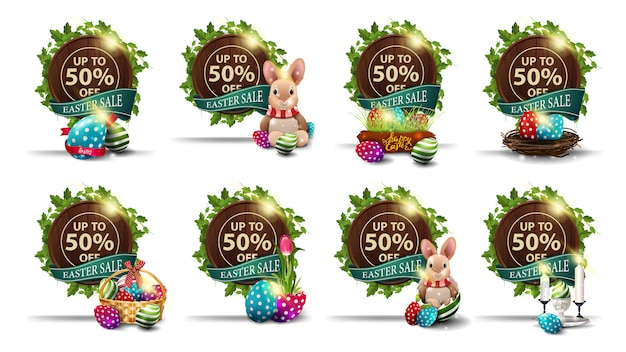 Easter sale,  set of brown discount banners in the form of wood barrel with a frame of vines, green ribbons and easter icons.