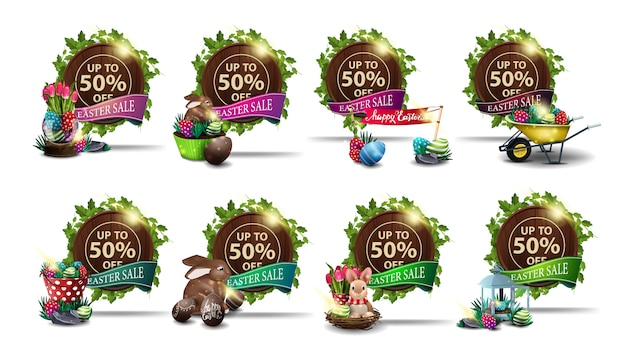Easter sale, set round discount banners in the form of brown wood barrel with a frame of vines, ribbons and easter icons.