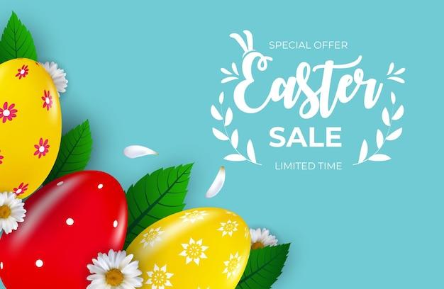 Шаблон пасхальной распродажи с 3d реалистичными пасхальными яйцами и краской.
