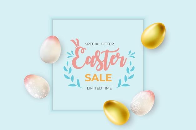 Шаблон пасхальной распродажи с 3d реалистичными пасхальными яйцами.