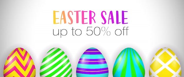 Easter sale, up to fifty percent off lettering, decorated eggs