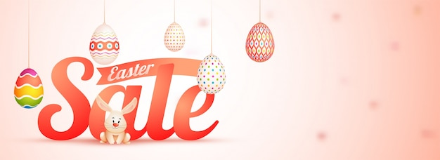 Easter sale web banner with painted eggs and bunny